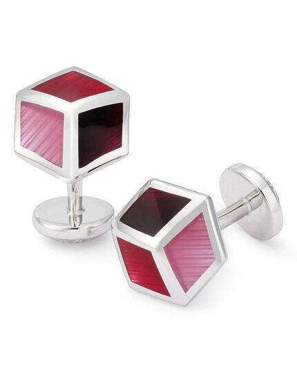 Berry tonal enamel cube cufflinks