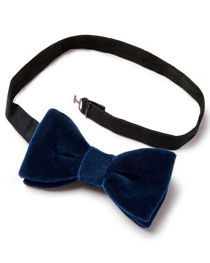 Navy cotton velvet ready-tied bow tie
