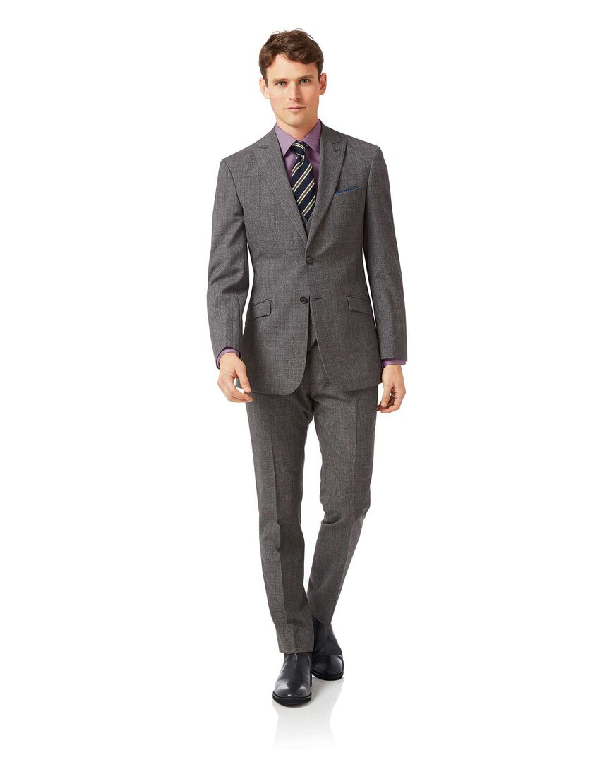 Grey slim fit jaspe check business suit