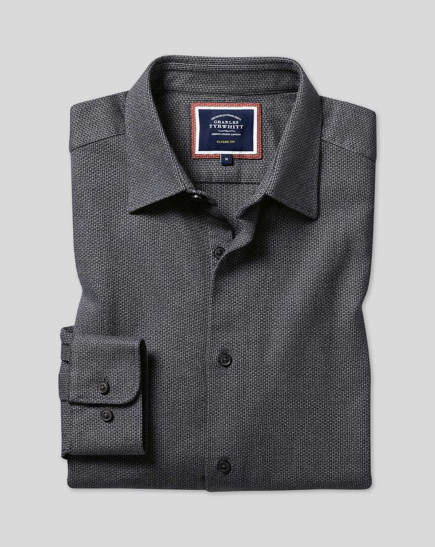 Flanellhemd aus strukturiertem Dobby-Gewebe mit Kent-Kragen - Braun & Blau