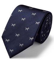 Navy silk motif jaqcuard Scottie dog classic tie