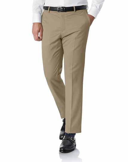 Tan slim fit Italian trousers