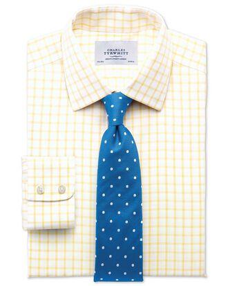 Extra slim fit non-iron twill grid check light yellow shirt