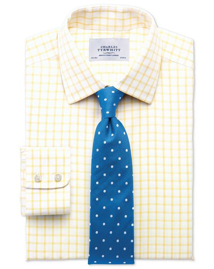 Extra slim fit non-iron twill grid check light yellow shirt