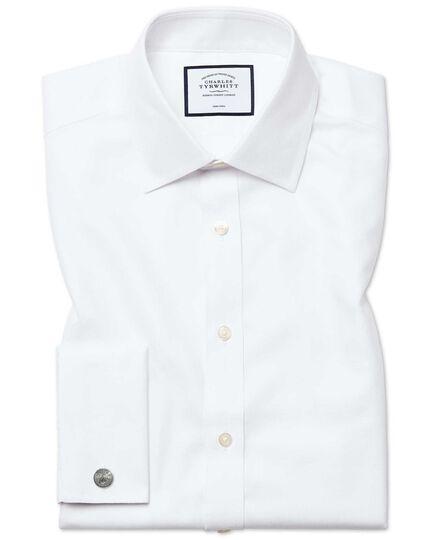 Bügelfreies Classic Fit Hemd aus Royal-Panama in Weiß