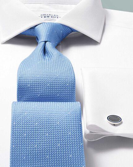 Slim fit white Egyptian cotton poplin cutaway collar shirt
