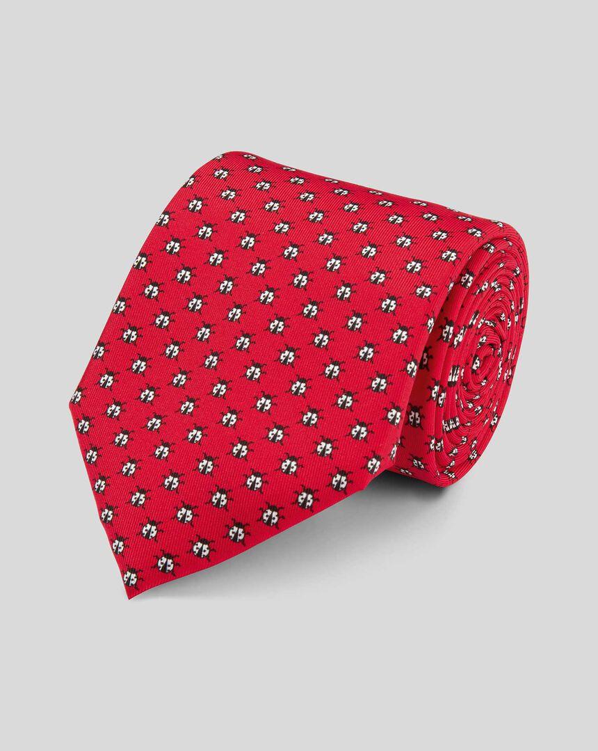Ladybird Silk Print Classic Tie - Red