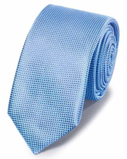 Sky blue mini pindot slim tie