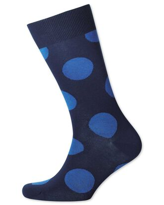 Navy and royal large spot socks