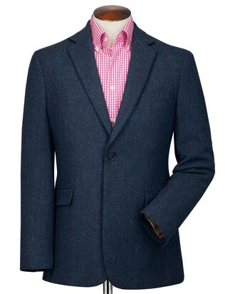 Classic fit blue herringbone wool jacket
