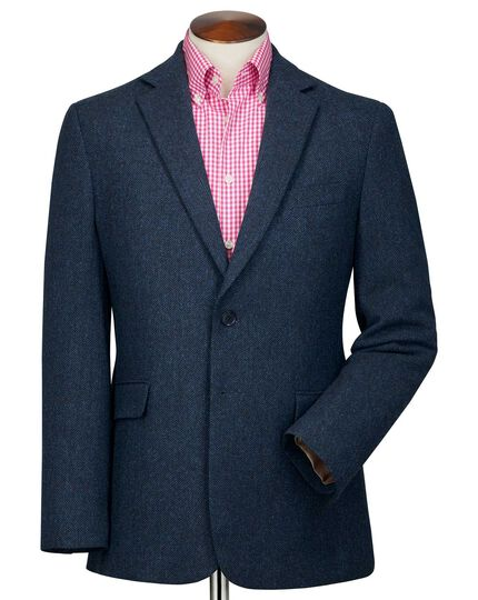Classic fit blue herringbone wool jacket