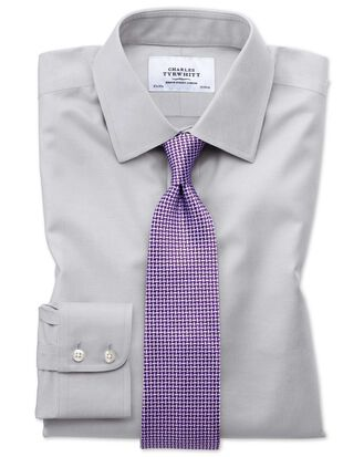 Bügelfreies Slim Fit Twill-Hemd in Grau