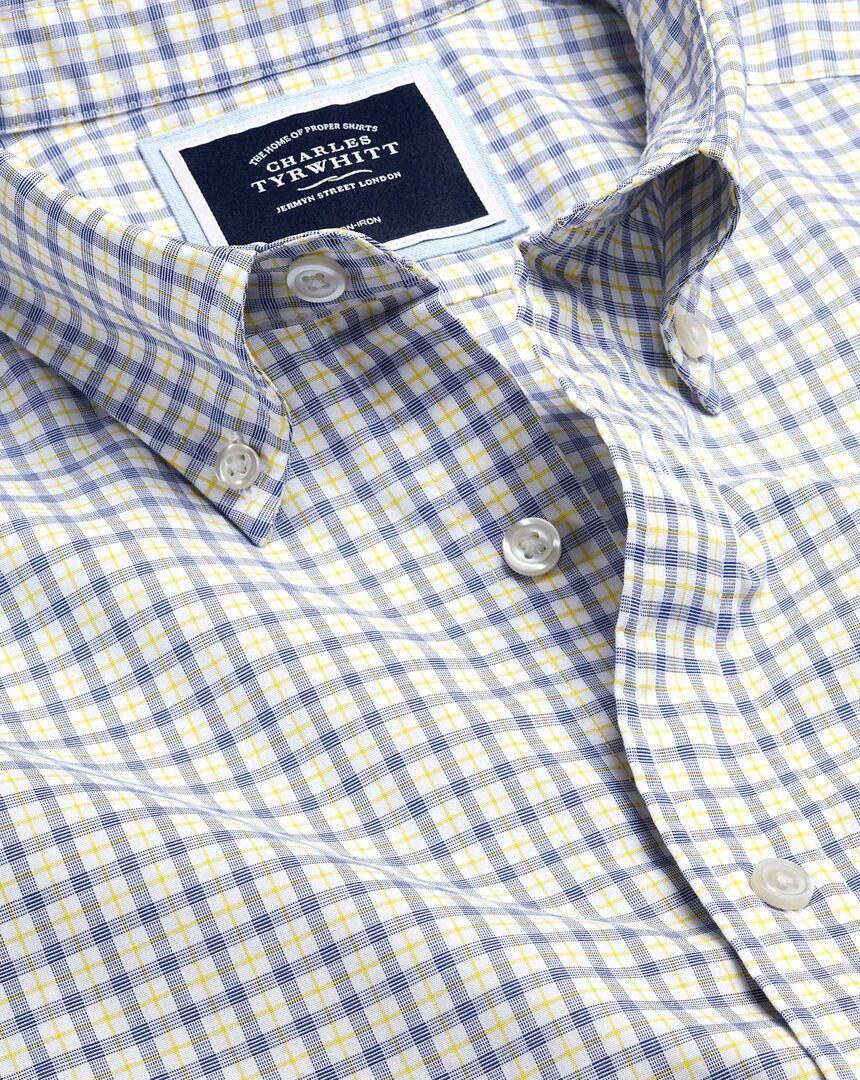 Button-Down Collar Non-Iron Stretch Poplin Check Short Sleeve Shirt - Yellow & Blue