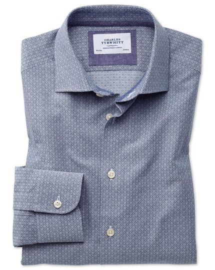 Classic fit semi-spread collar business casual diamond texture navy and grey shirt
