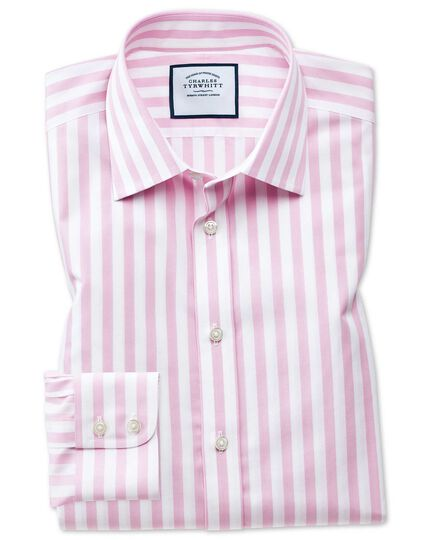 Extra slim fit non-iron Jermyn street stripes pink shirt