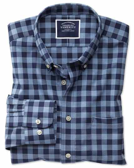 Slim fit navy gingham non-iron twill shirt