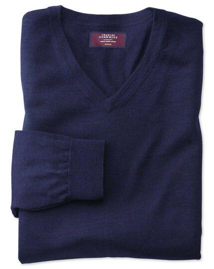 Blue v-neck merino-silk jumper
