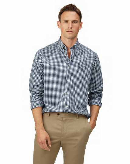 Classic fit navy check gingham soft washed non-iron stretch poplin shirt