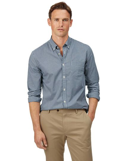 Extra slim fit soft washed non-iron stretch poplin gingham navy shirt