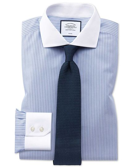 Slim fit non-iron spread collar Winchester blue and white stripe shirt
