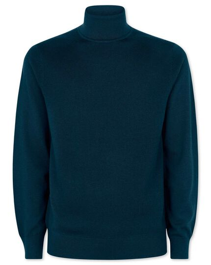 Teal merino roll neck jumper