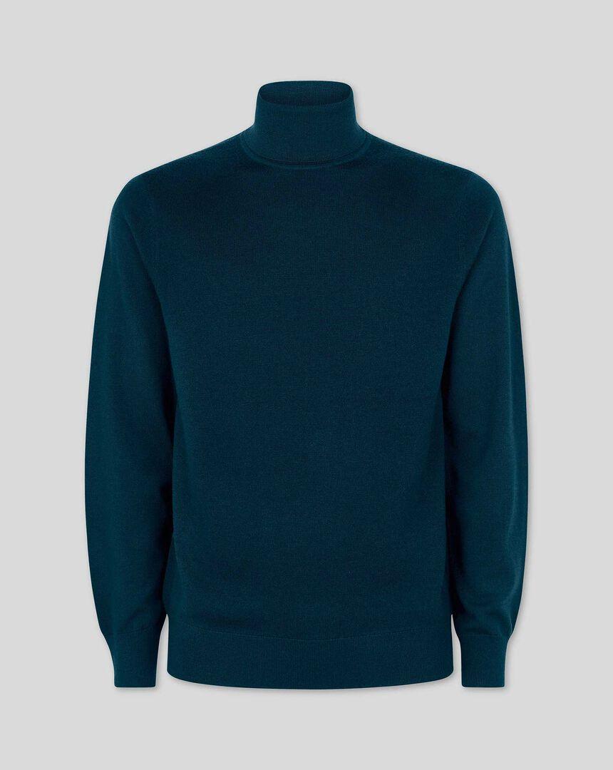 Teal merino roll neck sweater