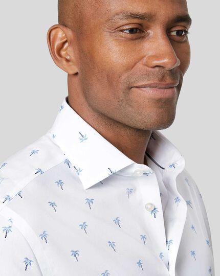 Smart Casual Collar Palm Tree Printed Shirt - Blue