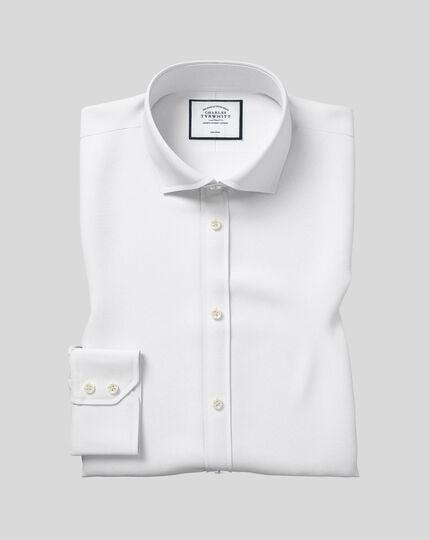 Extra slim fit cutaway non-iron poplin white shirt