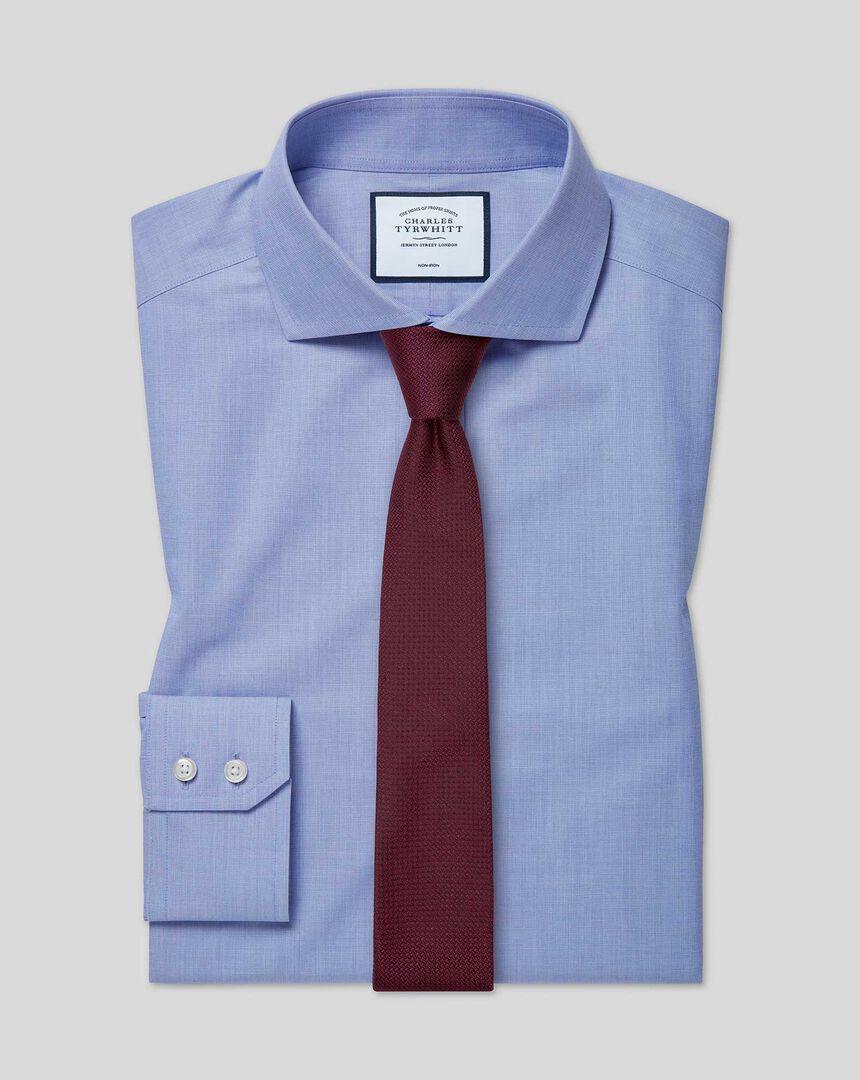Bügelfreies 4-Way Stretch-Hemd mit Haifischkragen - Blau