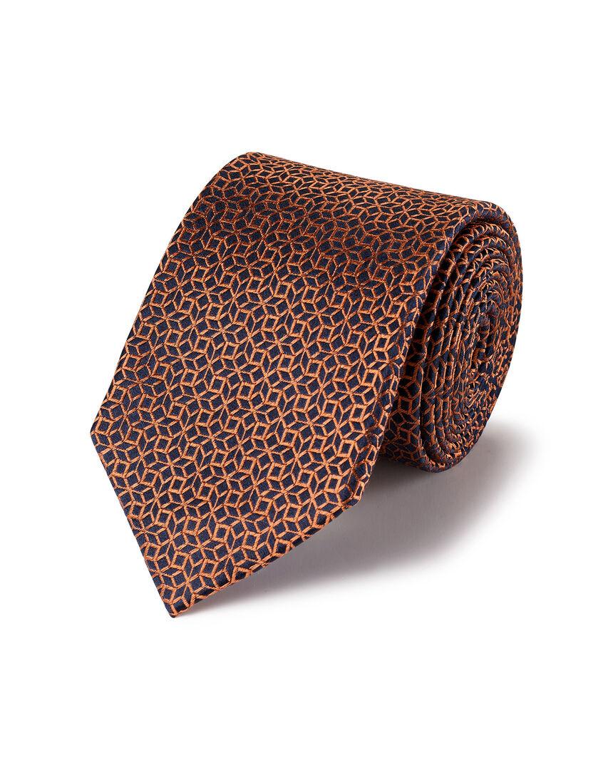 Krawatte mit geometrischem Würfelmuster - Marineblau & Orange