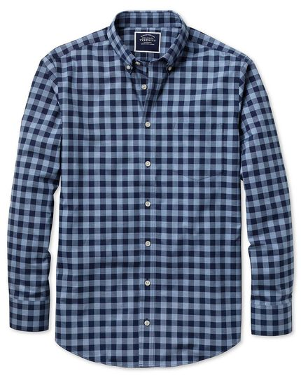 Slim fit navy gingham soft washed non-iron twill shirt
