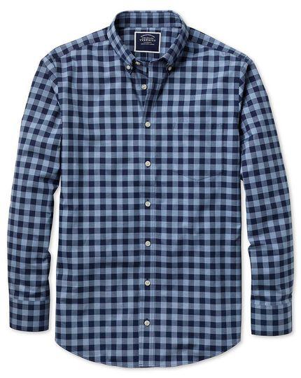 Chemise bleu marine slim fit twill à carreaux sans repassage