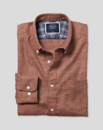 Non-iron Twill Shirt - Burnt Orange