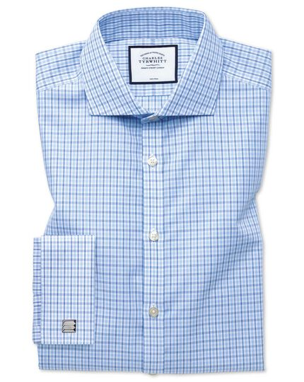 Extra slim fit cutaway non-iron poplin blue and sky blue shirt