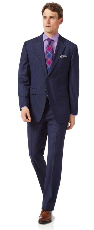 Business-Anzug Classic Fit Twill Streifen Blau