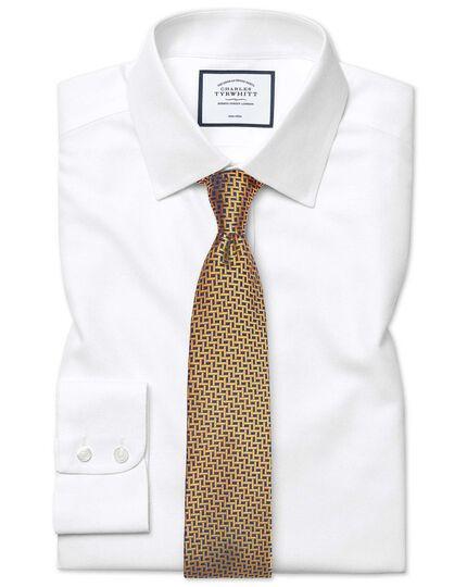 Slim fit non-iron dash weave white shirt