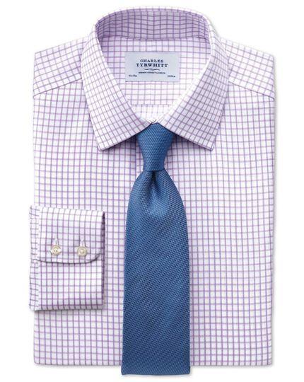 Slim fit non-iron windowpane check lilac shirt