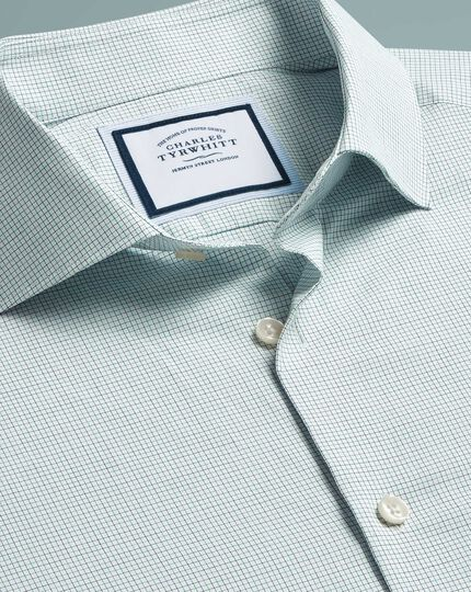 Peached Egyptian Cotton Check Shirt - Green And Blue