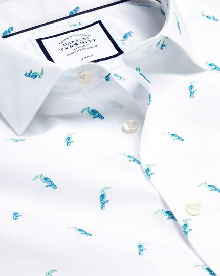 Hemd mit Business-Casual-Kragen und Tukanmotiv - Aquamarin