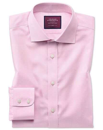 Classic fit luxury non-iron Prince of Wales check pink shirt