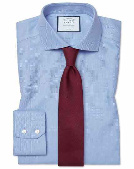 Classic fit non-iron Buckingham weave blue shirt