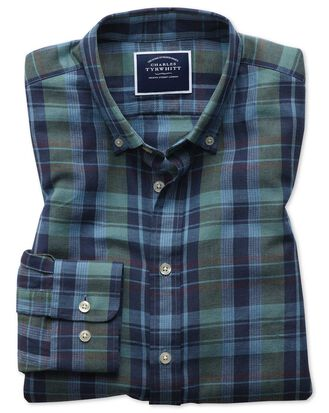 Slim fit navy and green check cotton linen twill shirt