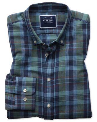 Classic Fit Twillhemd aus Baumwolle/Leinen mit Karos in Marineblau & Grün