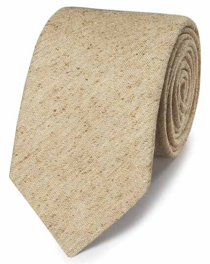 Beige silk Donegal English luxury tie