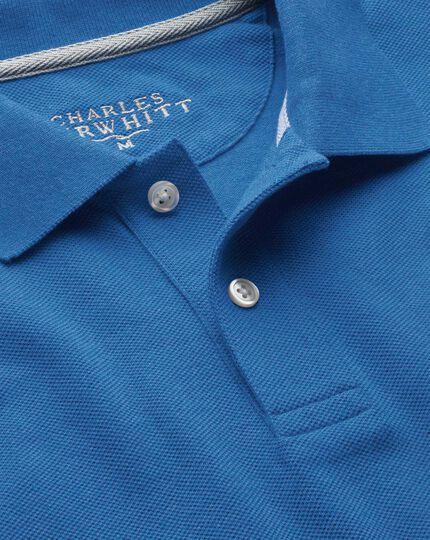 Polo en piqué de coton mélangé bleu
