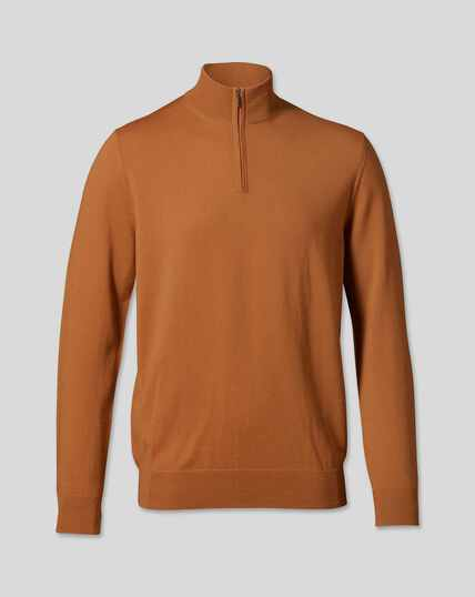 Merino Zip Neck Sweater - Orange