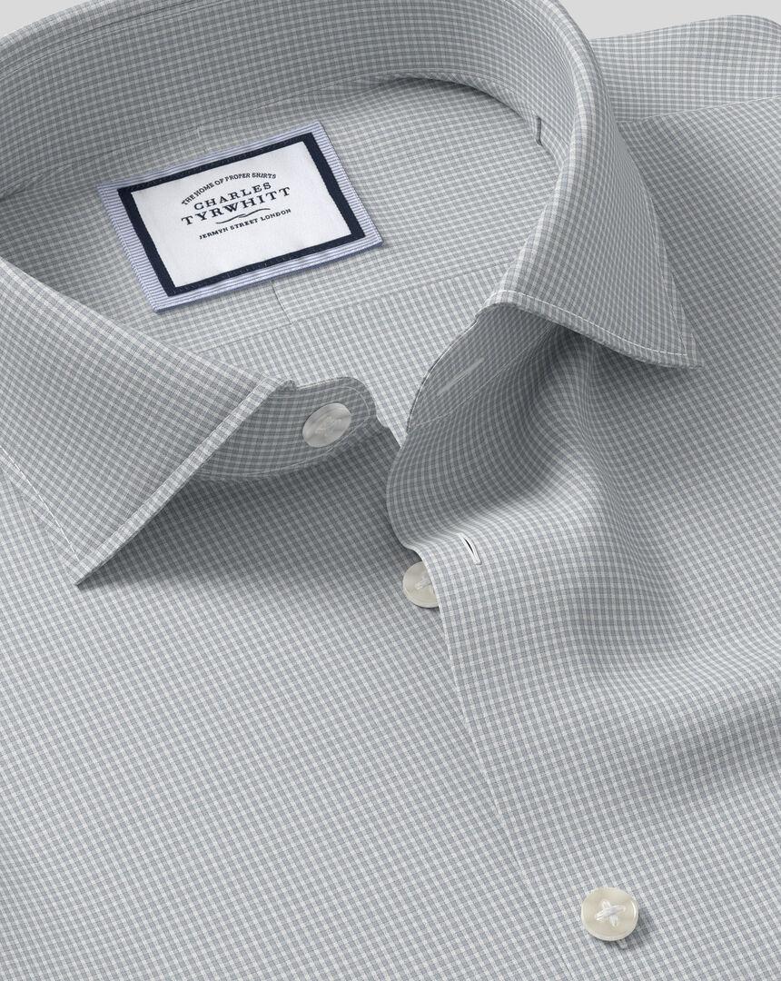 Geschmeidig smartes Hemd mit Business-Casual-Kragen und Karos - Grau