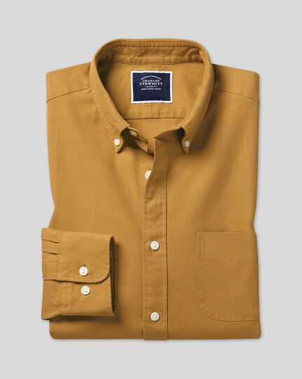 Button-Down Collar Washed Oxford Shirt - Mustard