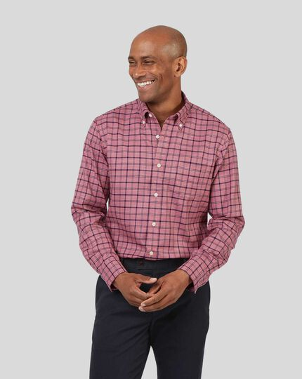Button-Down Collar Non-Iron Twill Overcheck Shirt - Pink & Navy