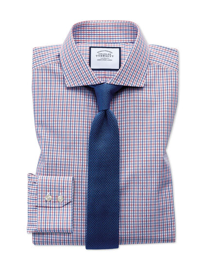 Extra slim fit non-iron blue and red check shirt